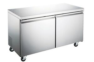 48 Commercial Double Door Under counter Stainless Steel Worktable Freezer Nsf