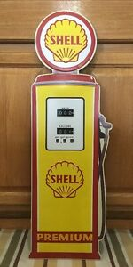 Shell Premium Gasoline Gas Pump Metal Vintage Style Motor Oil Wall Decor