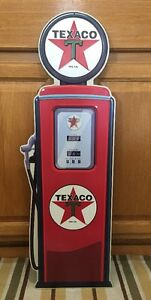 Texaco Gasoline Gas Pump Metal Vintage Style Motor Oil Fire Chief Wall Decor