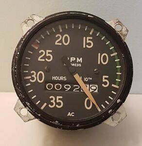 Tachometer 3500 Rpm Hour Meter A C Div Gmc Truck Tractor Airplane Vintage Usa