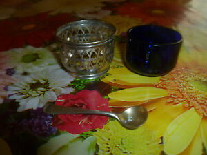 Antique Gorham Sterling Silver Cobalt Blue Salt Cellar With Spoon