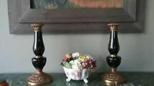2 Chinese Black Porcelain And Bronze Brass Candle Sticks No Sale Till Jun 4th