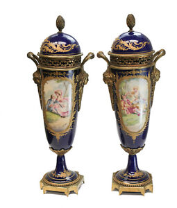 Sevres Style Ln France Hand Painted Double Handled Lidded Urns 19th Century