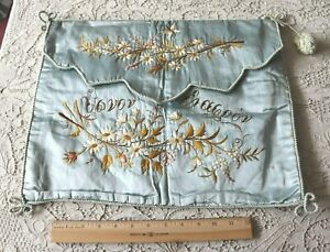 Antique C1880 Hand Embroidered Floral On Silk Blue Lingerie Case L 14 X W 17