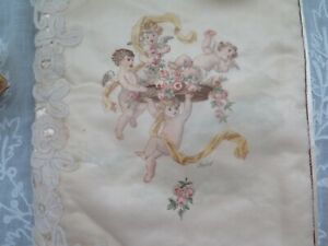 French Antqiue C1892 Hand Painted Cupids Silk Lace Lingerie Case Signed 9 X14