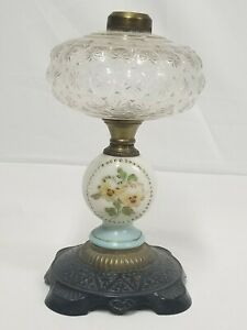 Antique Victorian Oil Kerosene Lamp Cast Iron Brass Glass W Painted Pansies