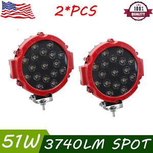 2x Round 7inch 51w Slim Led Work Light Offroad Atv 4wd Suv Bumper Fog Pods Red
