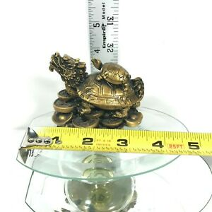 Chinese Fengshui Dragon Head Tortoise Statue Wish U Wealth Resin Turtle Figure