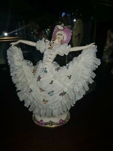 Antique Dresden Lace Volkstedt Porcelain Figurine
