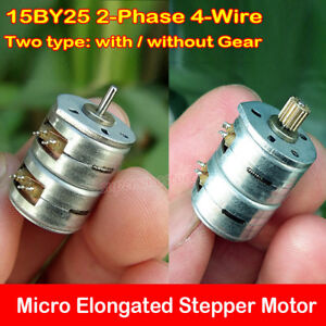 Micro Mini 15mm Stepper Motor 2 phase 4 wire Elongated Stepping Diy Toy Part