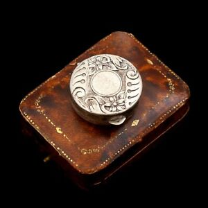 Antique Vintage Art Deco Sterling Silver Chinese Floral Flower Pillbox Snuff Box