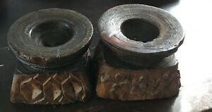 2x Antique Candle Holders Wooded Carved Wood Hand Carved Vintage Candlesticks