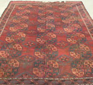 Early Antique 18th C Ersari Turkoman Rug Turkmen Main Carpet 8x10ft