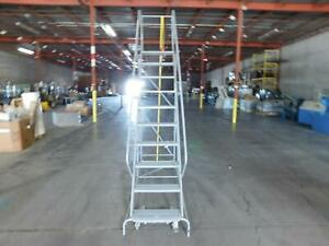Uline M0214 Rolling Steel Ladder 10 Step 132 Inches H T136161
