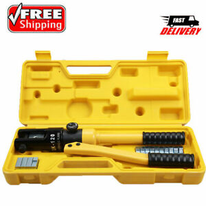 10 Ton Hydraulic Wire Battery Cable Lug Terminal Crimper Crimping Tool 11 dies