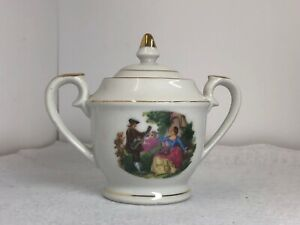 Antique Porcelain Sugar Bowl With Lid Double Handle Japan 5 Tall