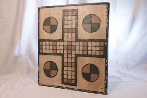 Antique Hand Painted Parcheesi Game Board Wood Wooden Folk Art Primitive Aafa