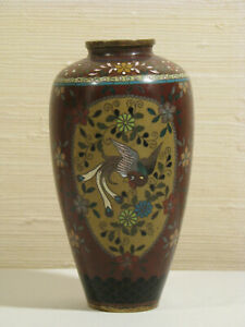Japanese Three Panel Cloisonne Vase