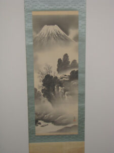 Japanese Hand Painted Hanging Scroll Mt Fuji