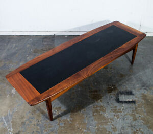 Mid Century Modern Coffee Table American Martinsville Walnut Dania Surfboard Nm