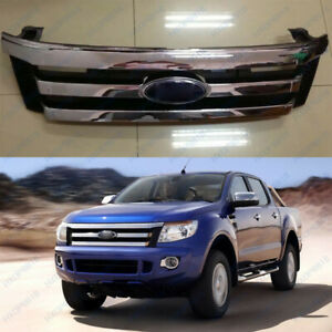 1p Front Chrome Grille Grill Overlay For Ford Ranger T6 2012 2014