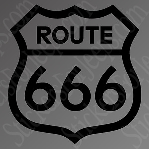 Route 666 Sticker Car Hell Truck Window Decal Harley Davidson Motorcycle Devil
