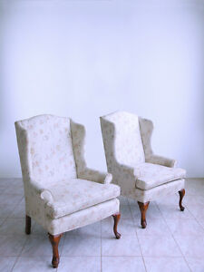 Sam Moore Chippendale Queen Anne Style Fireside Ladies Petite Wing Back Chairs