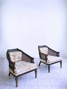 Vtg Cane Mid Century Barrel Spanish Revival Tufted Moroccan Gothic Club Chairs