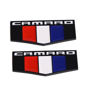 2x Black Front Right Left Flag Fender Emblem Badge For Chevrolet Camaro