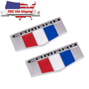 2x Silver Front Right Left Fender Emblem Badge Nameplates For Chevrolet Camaro