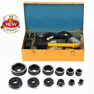 Manual Hydraulic Metal Steel Plate Hole Punch Set Hand Pump With 10 Dies Tool