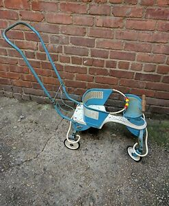 Vintage 1950s Genuine Taylor Tot Blue White Metal Wooden Baby Stroller Walker
