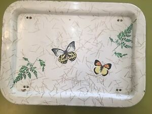 Vtg Metal Folding Butterfly Tray Table White Gold Mid Century 17 5 X 12 X 7