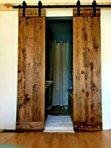 Wood Double Barn Doors Plus 6 6 Ft Sliding Hardware Rustic Antique Vintage Farm