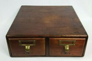 Antique Library Index Card Catalog File Cabinet 2 Drawer Office Storage Chest
