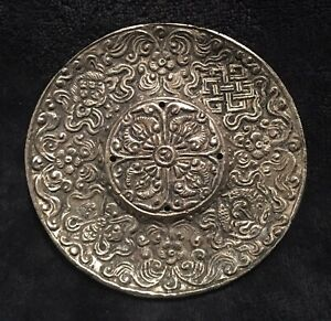 Antique Chinese Repousse Sterling Silver Longevity Double Sided Talisman Medal