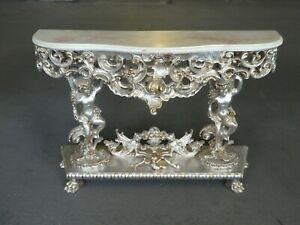 Over The Top Vintage Rococo Italian Wood Silver Leaf Console Table With Angels