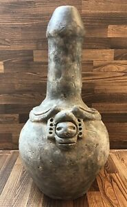 Large Pre Columbian Pottery Fertility Phallic Vase Vessel With 2 Heads Faces
