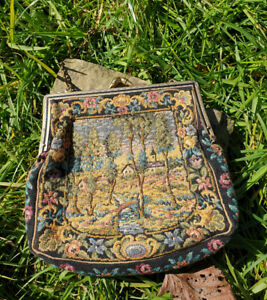 Superb Vintage 1930 S 40 S Hand Embroidered Needlepoint Tapestry Evening Bag