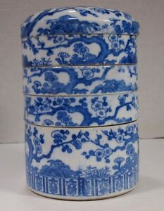 Japanese Blue And White Porcelain Jubako Bento Stacking Lunch Box