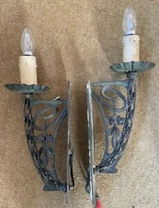 Pair Vintage Antique Copper Art Nouveau Arts Craft Chandelier Wall Lights Lamp