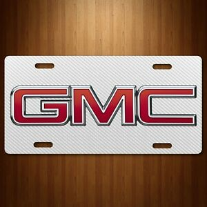 Gmc Truck Suv Aluminum License Plate Tag Simulated Carbon Fiber White New