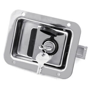 Stainless Steel Trailer Door Paddle Lock Latch Handle Truck Tool Box 2 Keys