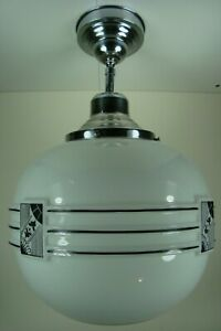 Vtg 1930s Art Deco Huge Milk Glass Globe Chrome Modern Ceiling Fixture Light