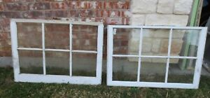 Vintage Sash Antique Wood Window Picture Frame 25 X 35 75 Set 2