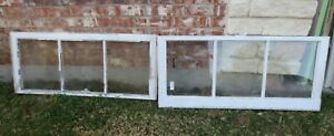 Vintage Sash Antique Wood Window Picture Frame 19 X 42 Set 3