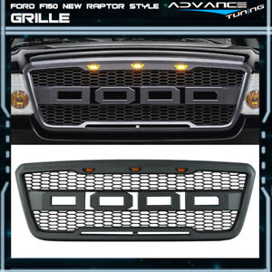 Fits 04 08 Ford F150 Raptor Style Black Front Hood Grille Conversion With Led