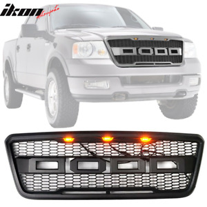 Fits 04 08 Ford F150 Raptor Style Black Front Hood Grille Conversion W Led