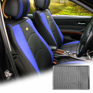 Pu Leather Seat Cushion Covers Front Bucket Blue W Gray Dash Mat For Suv