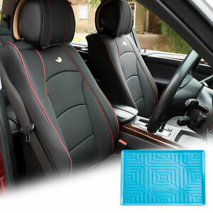 Pu Leather Seat Cushion Covers Front Bucket Black W Blue Dash Mat For Motors